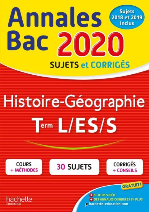 Annales Bac 2020 Histoire-Géo Term L/ES/S